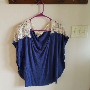 LC Lauren Conrad Blue Lace Top
